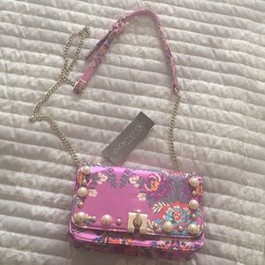 Eva Mendez silk floral crossbody purse